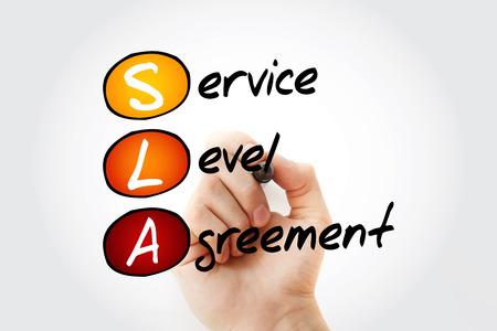 Photo pour SLA - Service Level Agreement acronym with marker, business concept background - image libre de droit