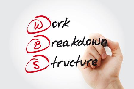 Foto de Hand writing WBS - Work Breakdown Structure with marker, acronym business concept - Imagen libre de derechos