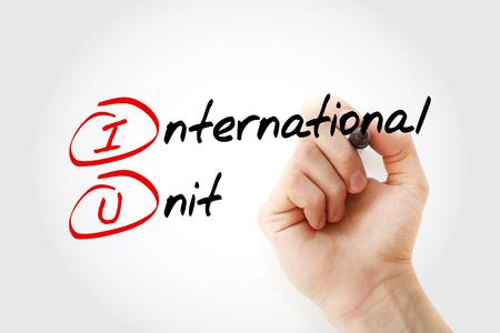 Photo pour IU - International Unit acronym with marker, concept background - image libre de droit