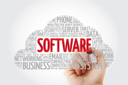 Foto de Software word cloud with marker, business concept background - Imagen libre de derechos