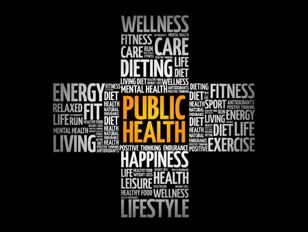 Illustration pour Public Health word cloud, health cross concept background - image libre de droit