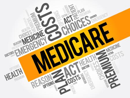 Illustration pour Medicare word cloud collage, health concept background - image libre de droit
