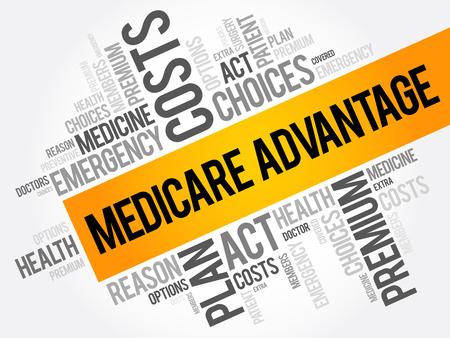 Illustration pour Medicare Advantage word cloud collage, health concept background - image libre de droit