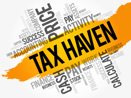 Illustration for Tax Haven word cloud collage, business concept background - Royalty Free Image