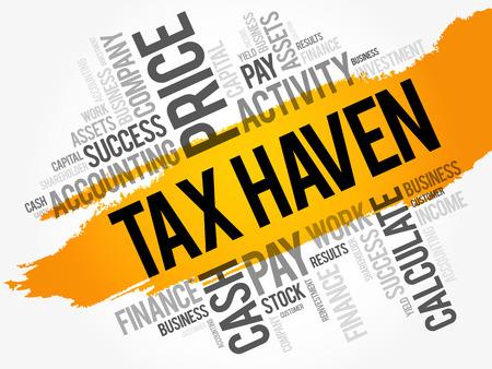 Ilustración de Tax Haven word cloud collage, business concept background - Imagen libre de derechos