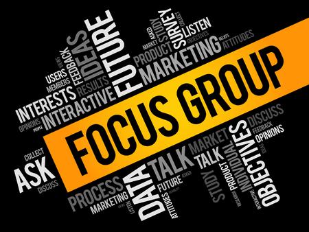 Illustration pour Focus Group word cloud collage, business concept background - image libre de droit