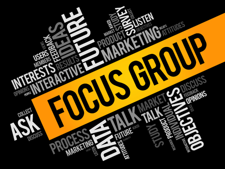 Ilustración de Focus Group word cloud collage, business concept background - Imagen libre de derechos
