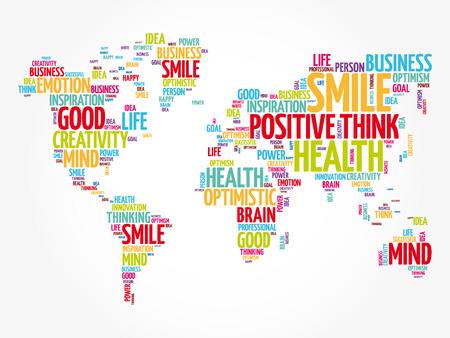Illustration pour Positive thinking word cloud in shape of world map, creative concept background - image libre de droit
