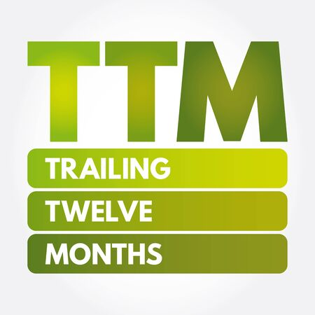 Ilustración de TTM - Trailing Twelve Months acronym, business concept background - Imagen libre de derechos