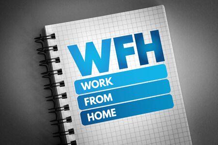 Photo pour WFH - Work From Home acronym, business concept background - image libre de droit