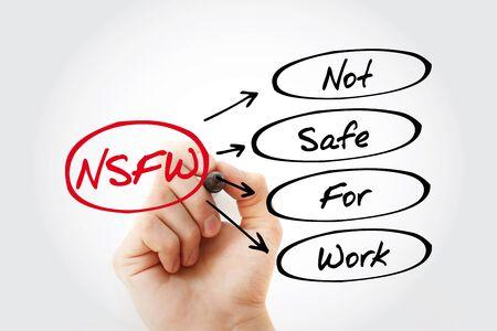 Foto de NSFW - Not Safe For Work acronym, business concept background - Imagen libre de derechos