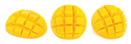 Photo pour Carved mangoes isolated on white background. As package design elements. - image libre de droit