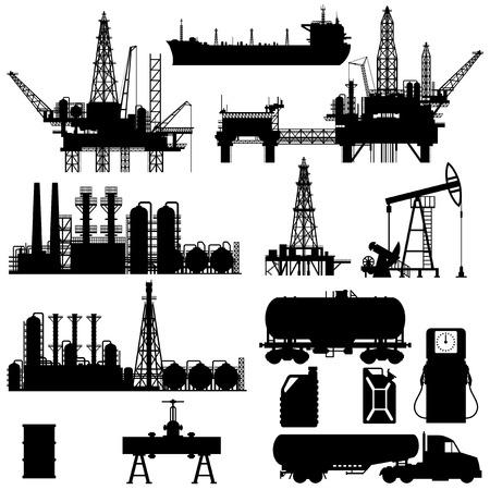 Ilustración de Set of detailed silhouettes of oil industry objects, EPS 8 - Imagen libre de derechos