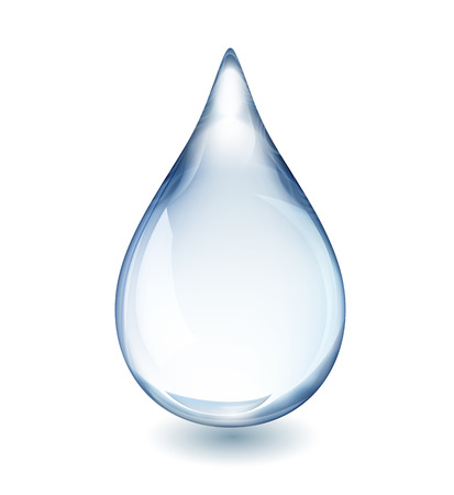 Illustration pour Realistic single water drop isolated on white vector illustration, EPS 10 contains transparency - image libre de droit