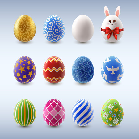 Set of colorful decorated easter eggs, EPS 10 contains transparency
