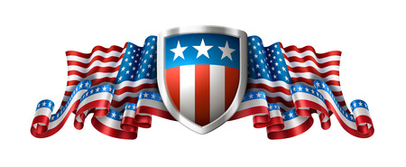Illustration pour American patriotic background with shield, 4th of july greeting card, EPS 10 contains transparency. - image libre de droit