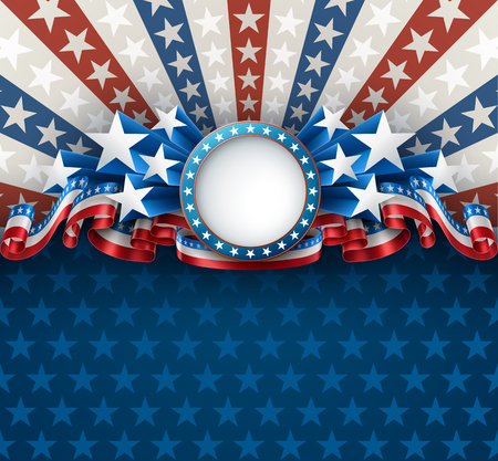 Illustration pour American patriotic background with round frame, 4th of july greeting card, EPS 10 contains transparency. - image libre de droit