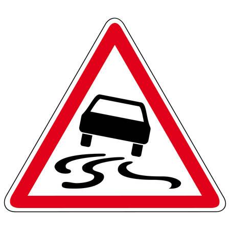 Illustration pour slippery road - vector sign - image libre de droit