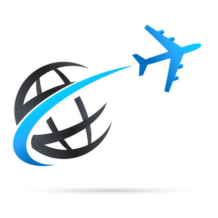 Ilustración de airplane flying around earth - vector icon - Imagen libre de derechos