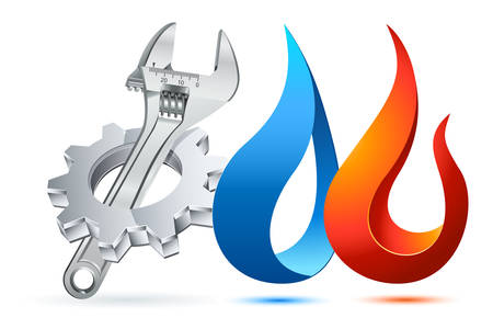Illustration pour Plumber icon with gear, adjustable wrench and fire / water symbol - image libre de droit