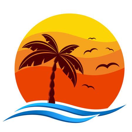 Ilustración de tropical icon with palm trees, sunset and sea gulls - Imagen libre de derechos