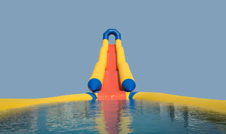 Photo for inflatable slides into the water, cascade - Royalty Free Image