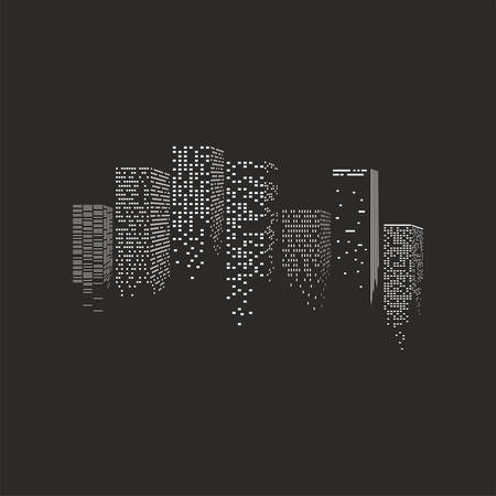 Illustration pour illustration of  night city - skyscrapers over the black background - image libre de droit