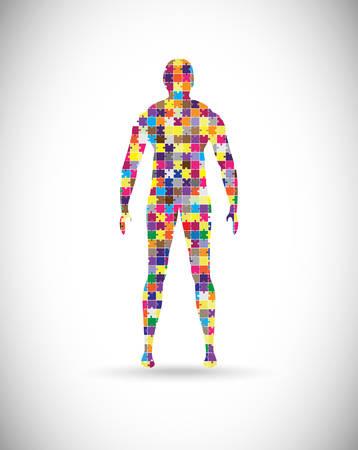 Ilustración de Abstract male body built of puzzle pieces - Imagen libre de derechos