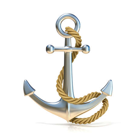 Foto de Steel anchor with rope isolated on a white background. 3D render illustration. - Imagen libre de derechos