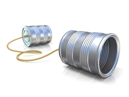 Foto de Communication concept: tin can children telephone with rope. 3D render illustration isolated on white background - Imagen libre de derechos