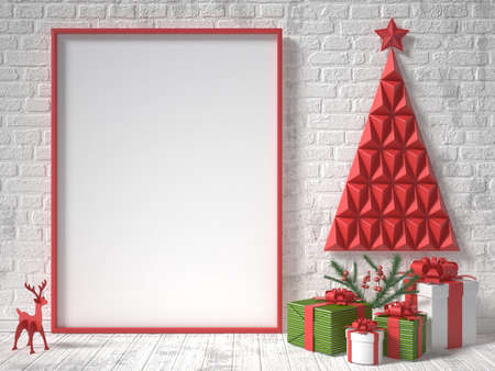 Foto de Mock up blank picture frame, Christmas decoration and gifts. 3D render illustration - Imagen libre de derechos