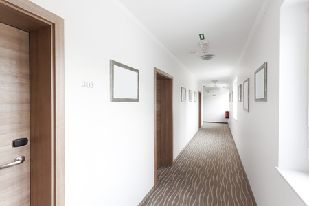 Photo for hotel hallway with many doors - Royalty Free Image