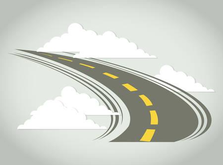 Illustration pour Road design over cloudscape background, vector illustration. - image libre de droit