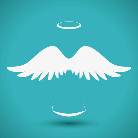 Illustration for Angel design over blue background, vector illustration, - Royalty Free Image