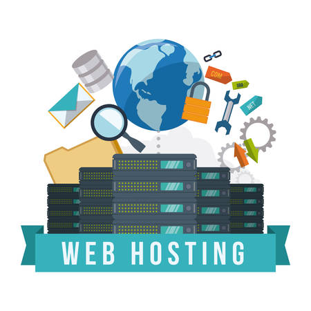 Ilustración de Web hosting digital design, vector illustration  - Imagen libre de derechos