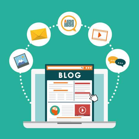 Illustration pour Blog, blogging and blogglers theme design, vector illustration graphic - image libre de droit