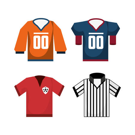 set american football sport game unifrom vector illustration