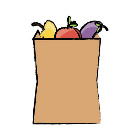 Grocery bag with fruits and vegetables icon over white background colorful design vector illustration
