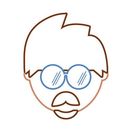 Illustration pour flat line colored man face  with glasses over white background  vector illustration - image libre de droit