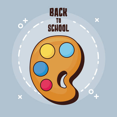 Ilustración de Back to school design with paint palette icon over gray background, vector illustration - Imagen libre de derechos