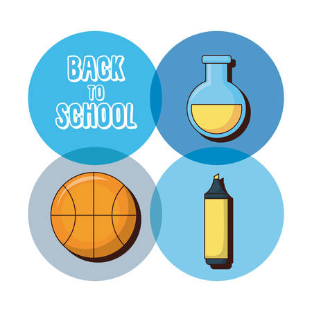 Ilustración de Icon set of back to school concept over colorful circles and white background vector illustration - Imagen libre de derechos