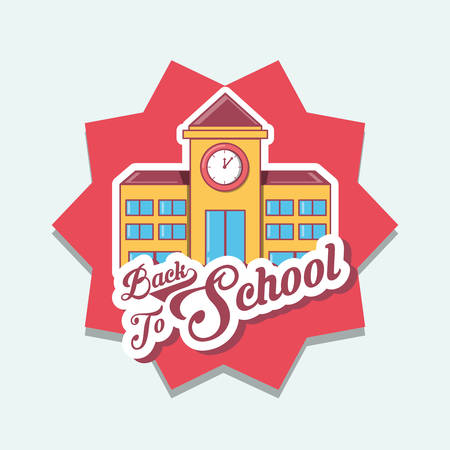 Ilustración de Back to school design with school building over red star and white background, colorful design vector illustration. - Imagen libre de derechos