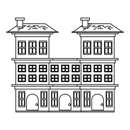 Illustration pour Residential houses over white background, vector illustration - image libre de droit