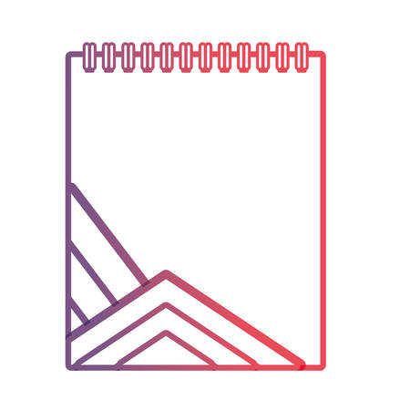 Illustration for flat line purple notepad with blue lines design over white background vector illustration - Royalty Free Image