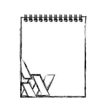 Illustration for uncolored notepad with stripes design doodle over white background vector illustration - Royalty Free Image