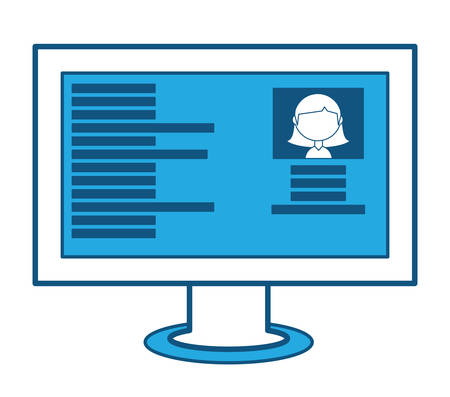 Ilustración de Computer with social profile on screen over white background, blue shading design. vector illustration - Imagen libre de derechos