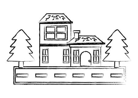 Illustration pour sketch of Street with houses and trees over white background, vector illustration - image libre de droit