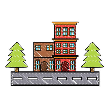 Illustration pour Street with houses and trees over white background, colorful design. vector illustration - image libre de droit