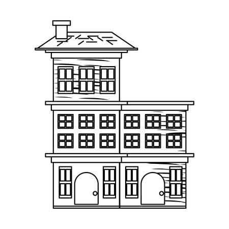 Illustration pour sketch of Residential houses over white background, vector illustration - image libre de droit