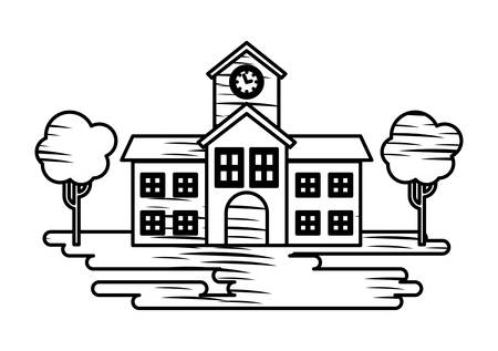Illustration pour Sketch of school building and trees icon over white background, vector illustration - image libre de droit